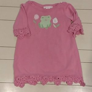 Janie and Jack pink frog dress 12 to 18 months